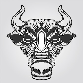 Black and white line art of cow