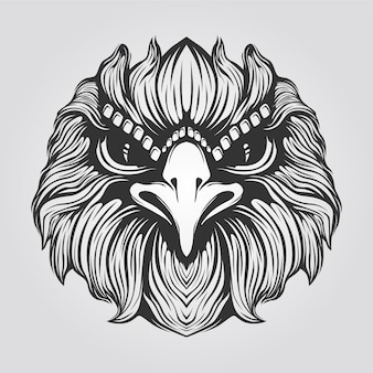 Black and white line art of eagle face