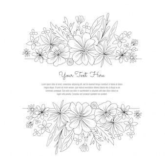 Black and white line art flower invitation