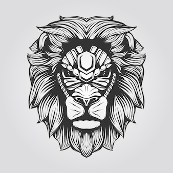 Black and white line art of lion head