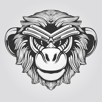 Black and white line art of monkey