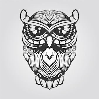 Black and white line art of owl