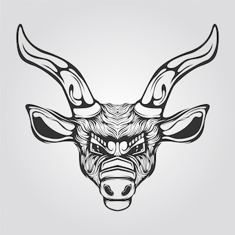 Black and white line art of reindeer