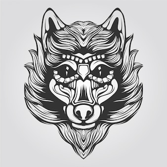 Black and white line art of wolf