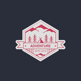 Black and white line  camp badge. mountain climbing and forest camp emblem.