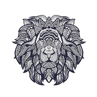 Black and white lineart of lion head