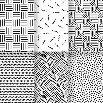 Black and white lines seamless pattern template