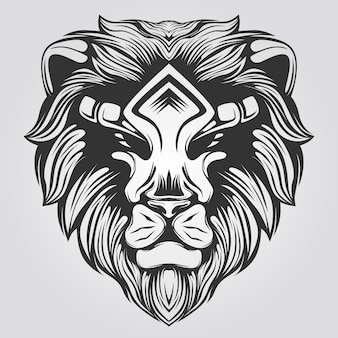 Black and white lion line art for coloring book
