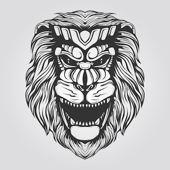 Black and white lion line art for tatto or coloring book