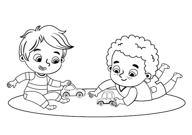 Black and white little boys vector illustration