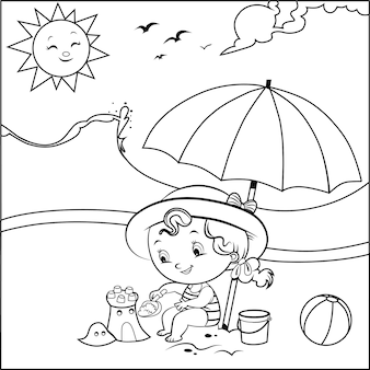 Black and white little girl builds a sand castle on the beach vector illustration