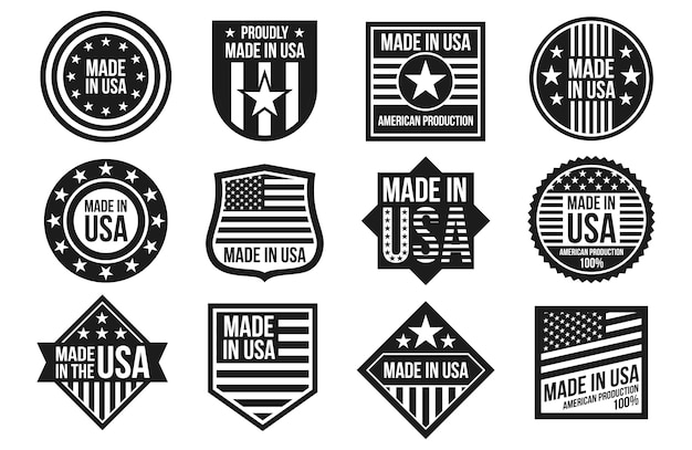 Black and white made in usa badges