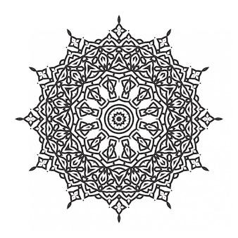 Black and white mandala design with ornament