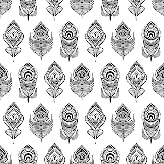 Black and white mandala feathers seamless pattern for print