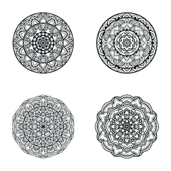 Black and white mandala illustration set