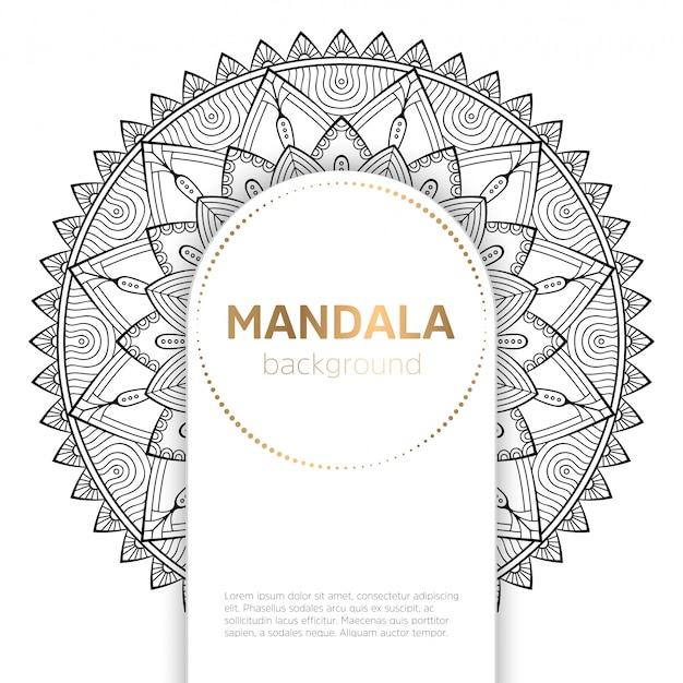 Black and white mandala template background