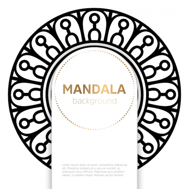 Black and white mandala template background