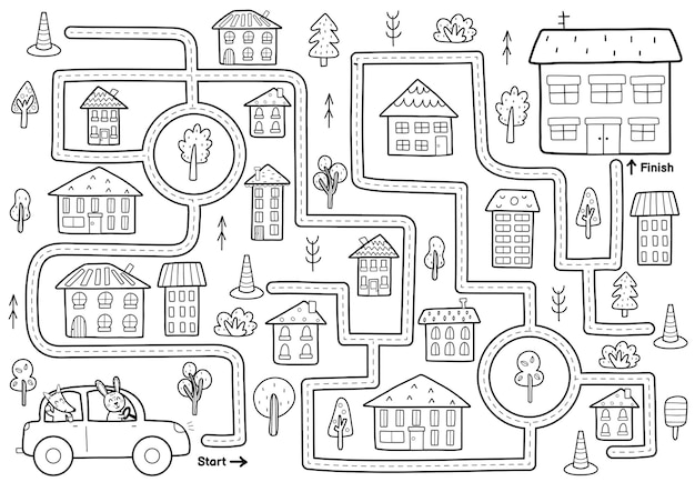 Black and white maze game for kids help the cute rabbit and fox drive to home printable labyrinth activity for children