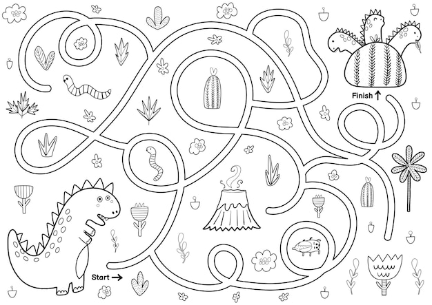 Black and white maze game for kids help the mother dinosaur find the way to her baby dinos printable labyrinth activity for children