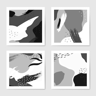Black and white memphis style backgrounds vector set