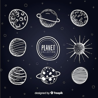Black and white milky way planets collection