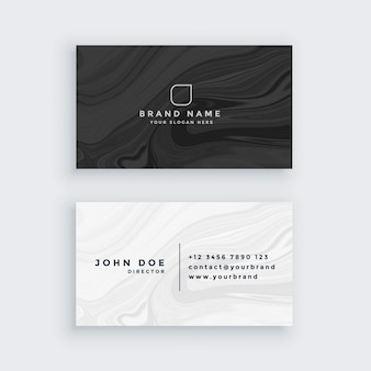 Black and white modern business card with marble texture