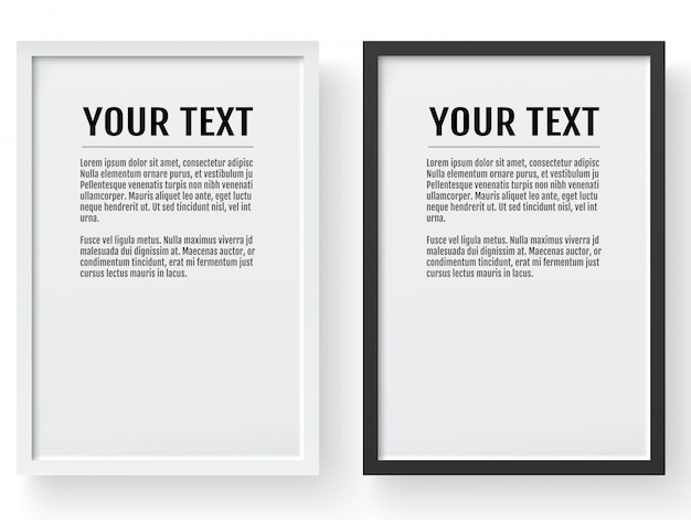 Black and white modern frame, vertical mockup.