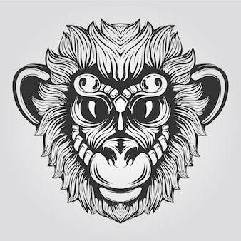 Black and white monkey line  with big eyes