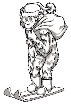 Black and white monkey on skis. vector illustration. chinese new year symbols