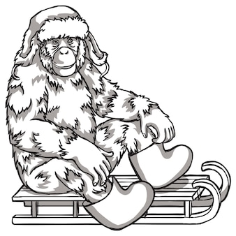 Black and white monkey on a sled. vector illustration. chinese new year symbols