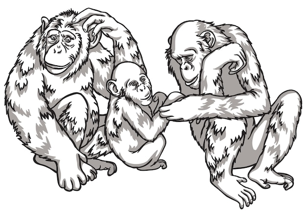 Black and white monkey with a family. vector illustration. chinese new year symbols
