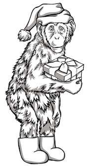 Black and white monkey with a gift vector illustration. chinese new year symbols