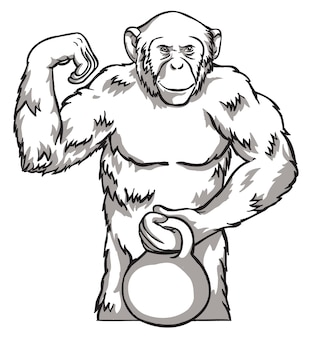 Black and white monkey with kettlebell vector illustration. chinese new year symbols