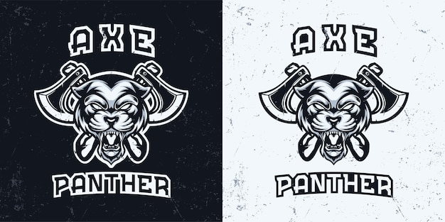 Black and white monochrome panther head with axe mascot logo illustration
