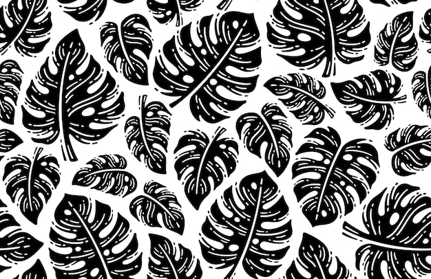 Black and white monstera tropical leaf pattern