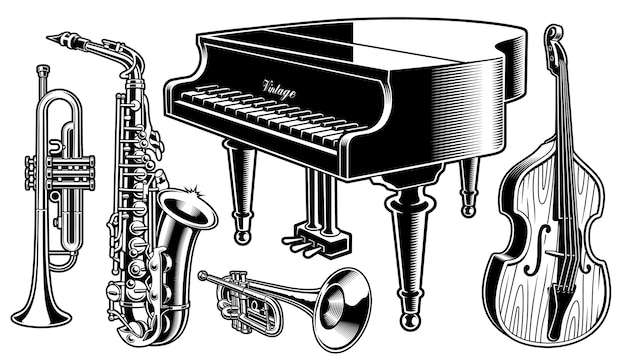 Black and white musical instruments