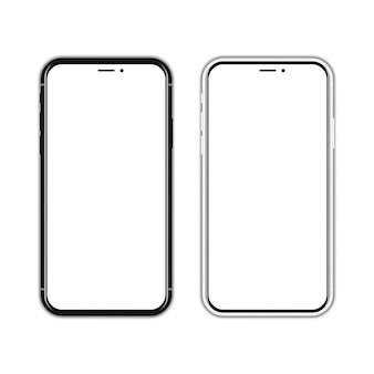 Black and white new smartphone with blank screen on a white  with shadow
