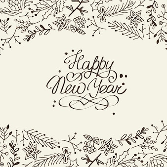 Black and white new year card