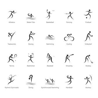 Black and white olympic icon collection