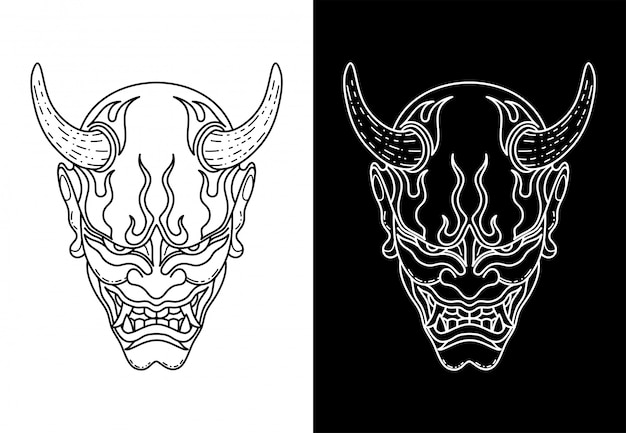 Black and white oni mask, monoline design