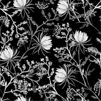 Black and white oriental seamless pattern blooming flowers