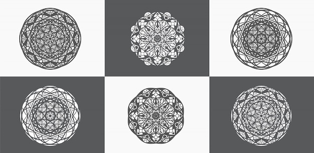 Black and white ornamental mandala collections