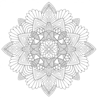 Black and white ornamental mandala