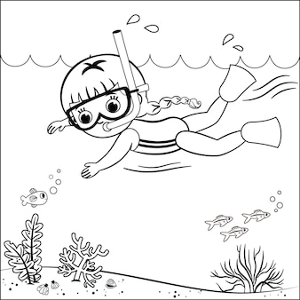 Black and white outline drawing of a swimming girl vector illustration