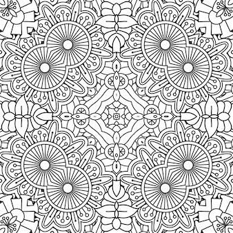Black and white outline floral pattern