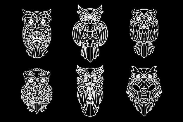 Black and white outline owl set