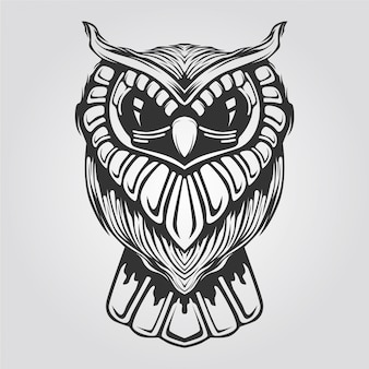 Black and white owl line art for tatto or coloring book