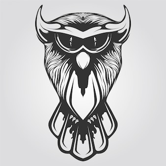 Black and white owl line art