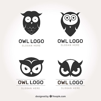 Black and white owl logo set