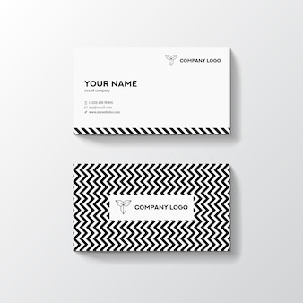 Black and white pattern background minimal business card design